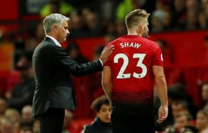 Manchester United's Luke Shaw with Jose Mourinho.