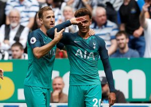 Tottenham's Dele Alli celebrates scoring their second goal with Harry Kane.