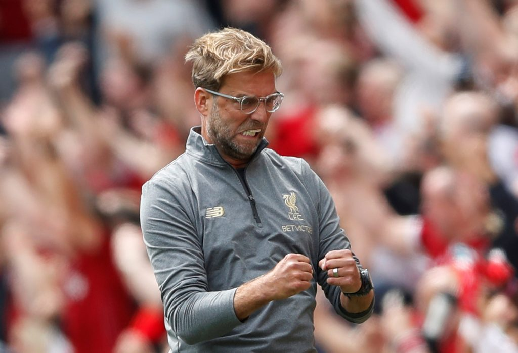 "Soccer Football - Premier League - Liverpool v West Ham United - Anfield, Liverpool, Britain - August 12, 2018   Liverpool manager Juergen Klopp celebrates after Mohamed Salah (not pictured) scored their first goal   Action Images via Reuters/Carl Recine    EDITORIAL USE ONLY. No use with unauthorized audio, video, data, fixture lists, club/league logos or ""live"" services. Online in-match use limited to 75 images, no video emulation. No use in betting, games or single club/league/player publications.  Please contact your account representative for further details. - RC1D7CC7C6C0"