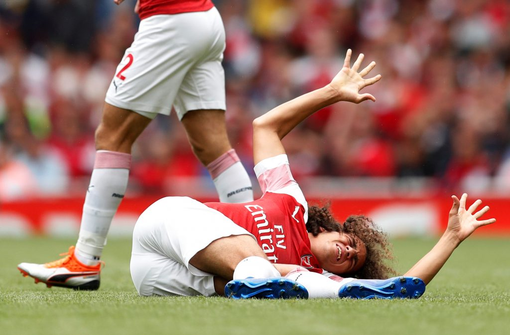 Arsenal's Matteo Guendouzi after sustaining an injury.