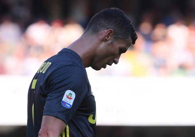 Juventus' Cristiano Ronaldo reacts.