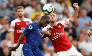 Chelsea's N'Golo Kante in action with Arsenal's Aaron Ramsey.