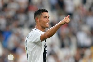 Juventus' Cristiano Ronaldo reacts after the match.