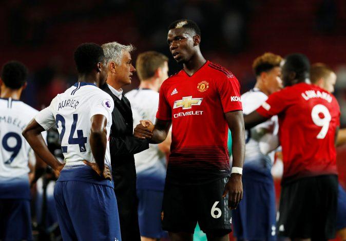 Jose Mourinho and Paul Pogba after the match.