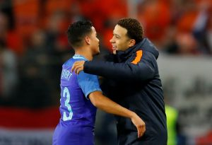 Netherlands' Justin Kluivert and Memphis Depay after the match.