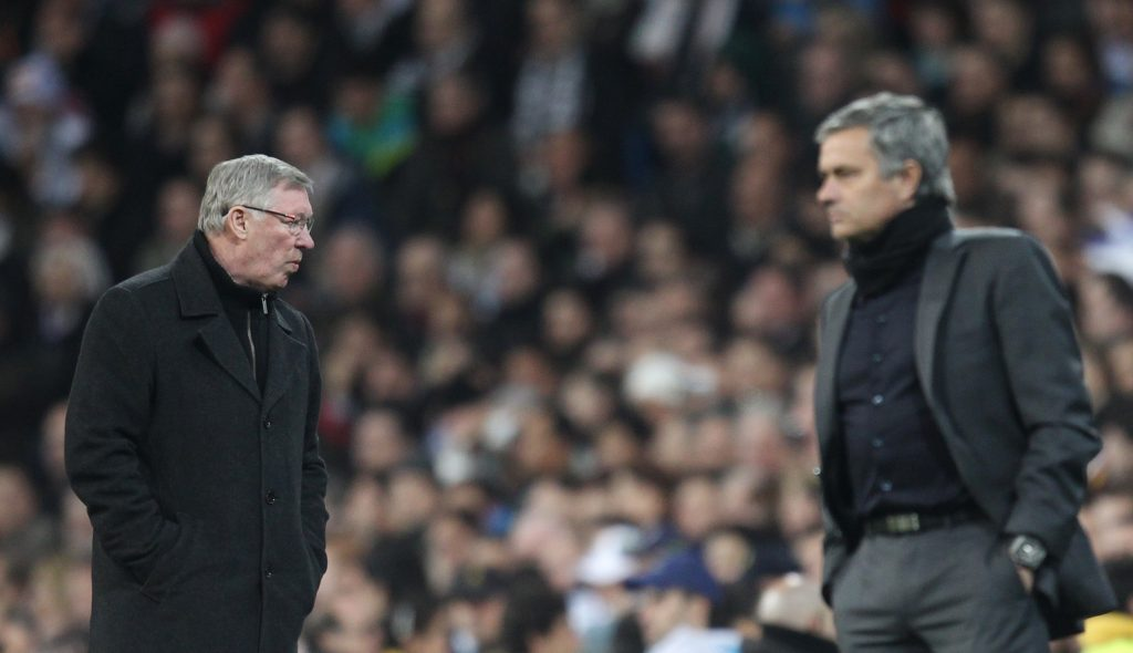 Real Madrid coach Jose Mourinho (R) with Sir Alex Ferguson.