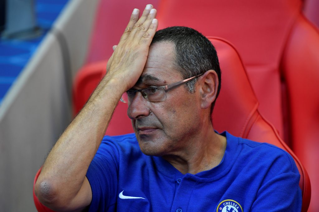 Soccer Football - FA Community Shield - Manchester City v Chelsea - Wembley Stadium, London, Britain - August 5, 2018  Chelsea manager Maurizio Sarri looks dejected at the end of the match   REUTERS/Toby Melville - RC154090FB70