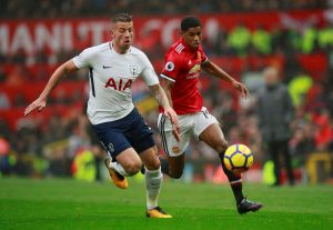 Manchester United's Marcus Rashford in action with Tottenham's Toby Alderweireld.