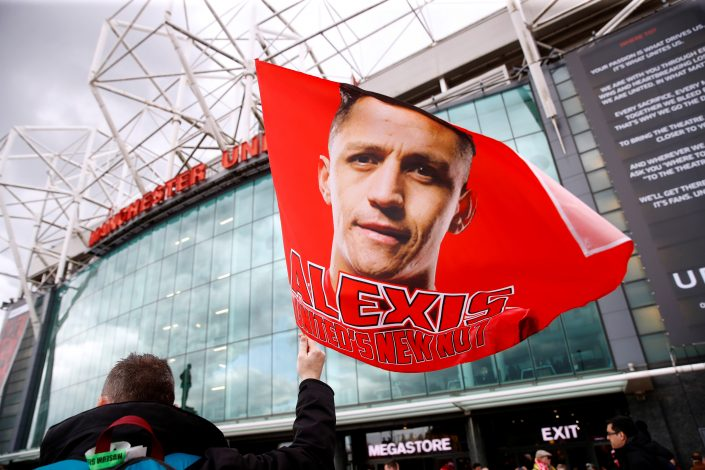 General view of a flag of Manchester United's Alexis Sanchez before the match.