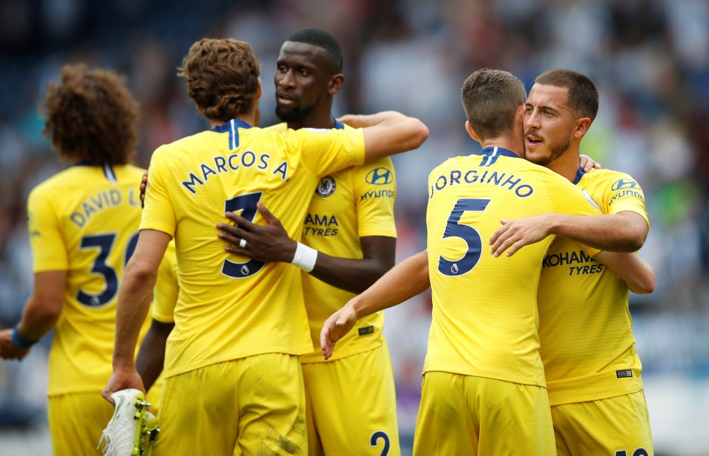 Chelsea's Marcos Alonso, Antonio Rudiger, Jorginho and Eden Hazard celebrate after the match.