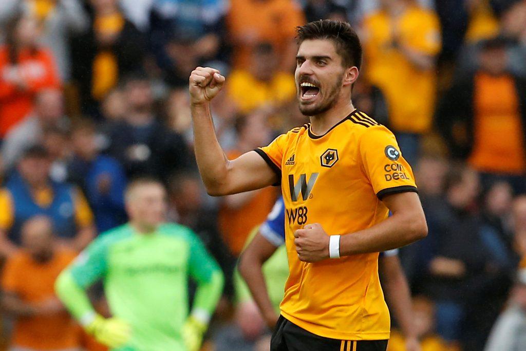 Wolves' Ruben Neves celebrates scoring their first goal.