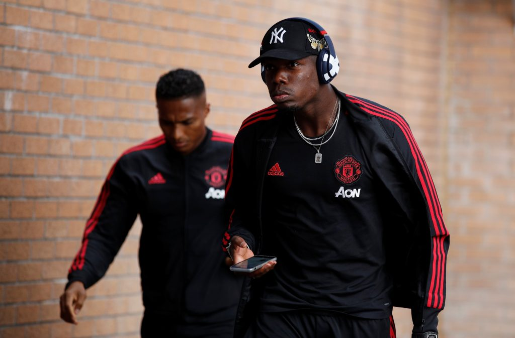 Manchester United's Paul Pogba arrives before the match.