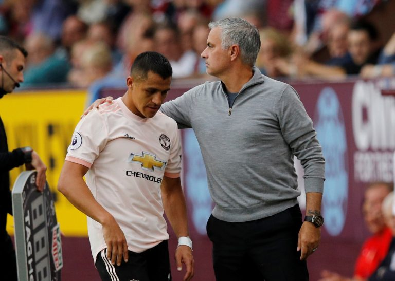 Manchester United's Alexis Sanchez with manager Jose Mourinho as he is substituted off.