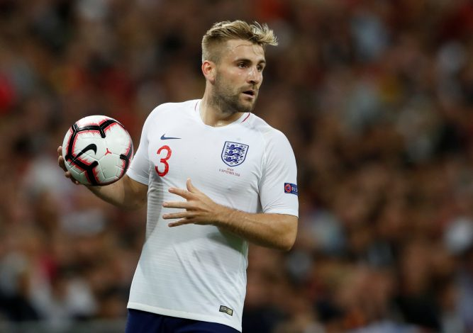 England's Luke Shaw prepares to take a throw in.