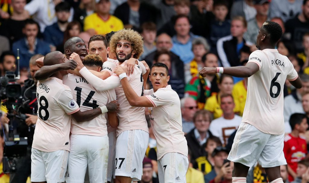 Romelu Lukaku celebrates with teammates.