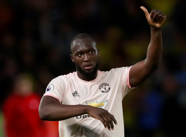 Manchester United's Romelu Lukaku gestures to the fans after the match.