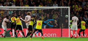 Manchester United's David de Gea makes a save.