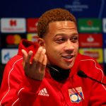 Lyon's Memphis Depay during the press conference.