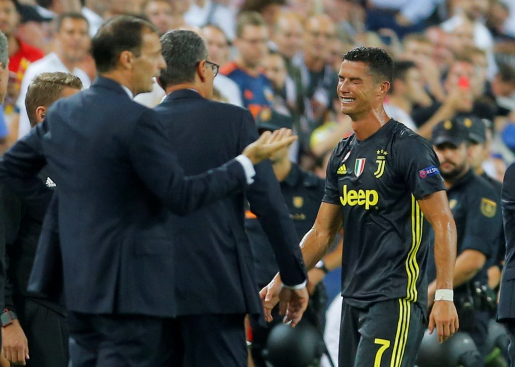Juventus' Cristiano Ronaldo reacts after being sent off.