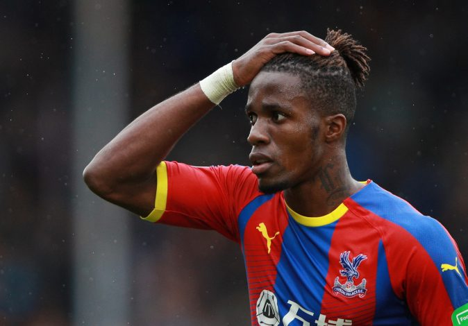 Crystal Palace's Wilfried Zaha reacts.