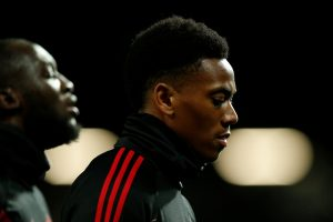 Manchester United's Anthony Martial during the warm up before the match.