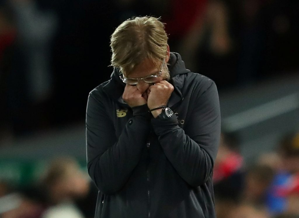 Liverpool manager Jurgen Klopp looks dejected.