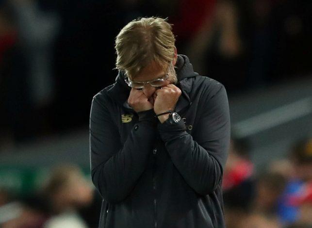 Liverpool manager Jurgen Klopp looks dejected.