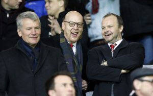 Manchester United former chief executive David Gill, co owner Avram Glazer and executive vice chairman Ed Woodward.
