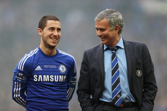 Chelsea manager Jose Mourinho and Eden Hazard before the match.