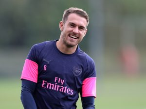 Arsenal's Aaron Ramsey during training.