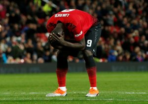 Manchester United's Romelu Lukaku reacts after a missed chance.