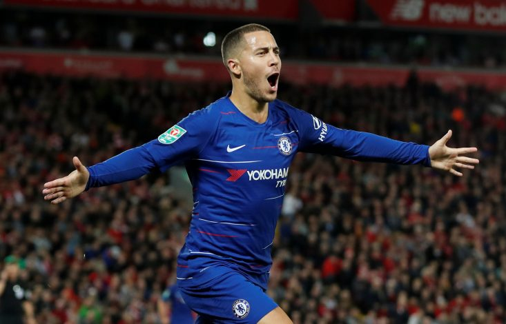 Chelsea's Eden Hazard celebrates scoring their second goal.