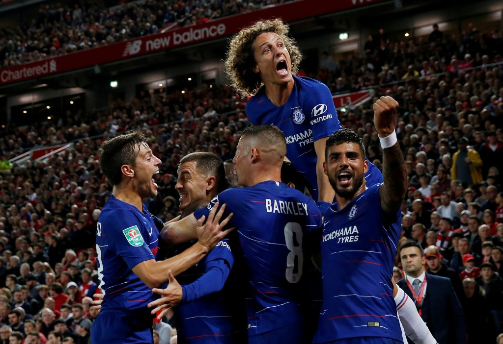 Chelsea's Eden Hazard celebrates with Cesar Azpilicueta, Ross Barkley, Emerson Palmieri and David Luiz after scoring their second goal.
