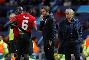 Jose Mourinho, coach Michael Carrick, Romelu Lukaku and Paul Pogba.