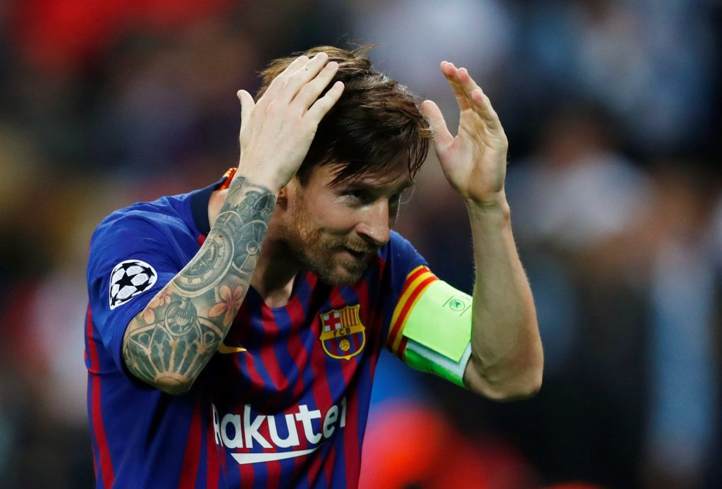 Barcelona's Lionel Messi celebrates scoring their fourth goal.