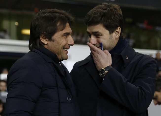 Tottenham manager Mauricio Pochettino and Chelsea manager Antonio Conte before the match.