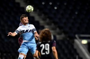 Lazio's Sergej Milinkovic-Savic heads the ball.
