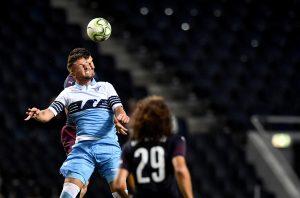 Lazio's Sergej Milinkovic-Savic heads the ball.