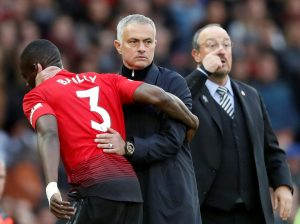 Manchester United's Eric Bailly with manager Jose Mourinho after being substituted off.