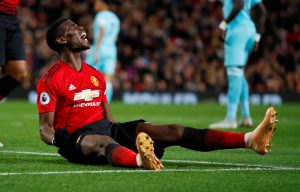 Manchester United's Paul Pogba reacts after missing a goal scoring opportunity.