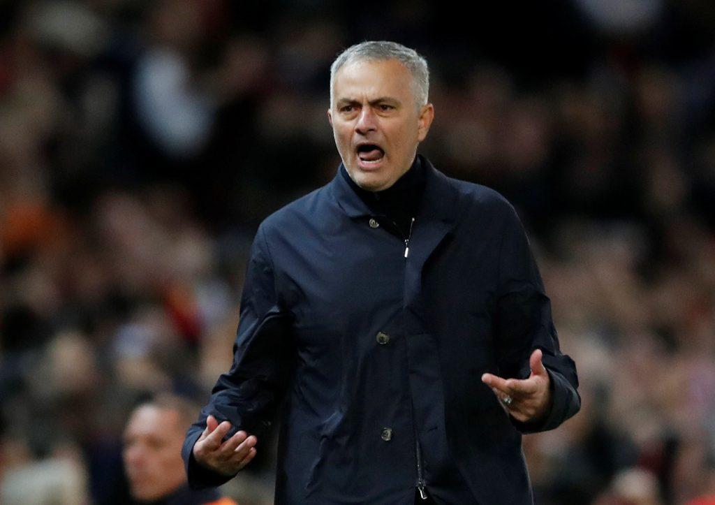 Jose Mourinho celebrates after Anthony Martial scores their second goal.