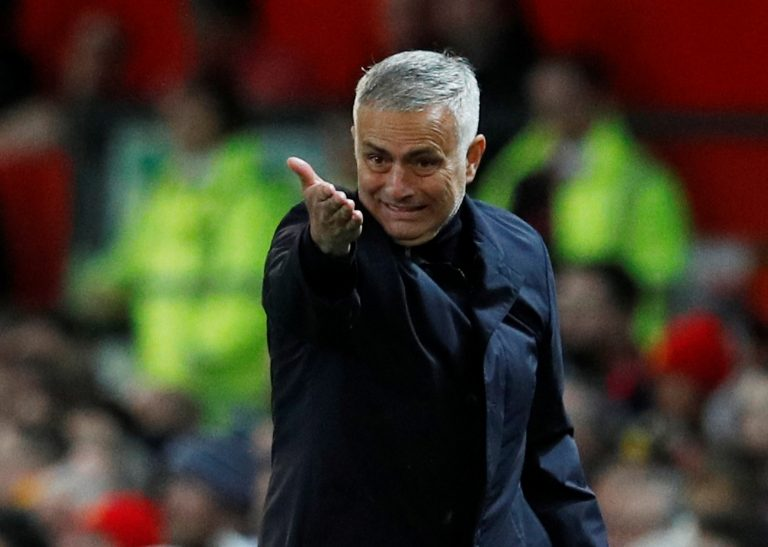 Manchester United manager Jose Mourinho gestures.