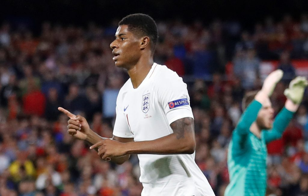 England's Marcus Rashford celebrates scoring their second goal.