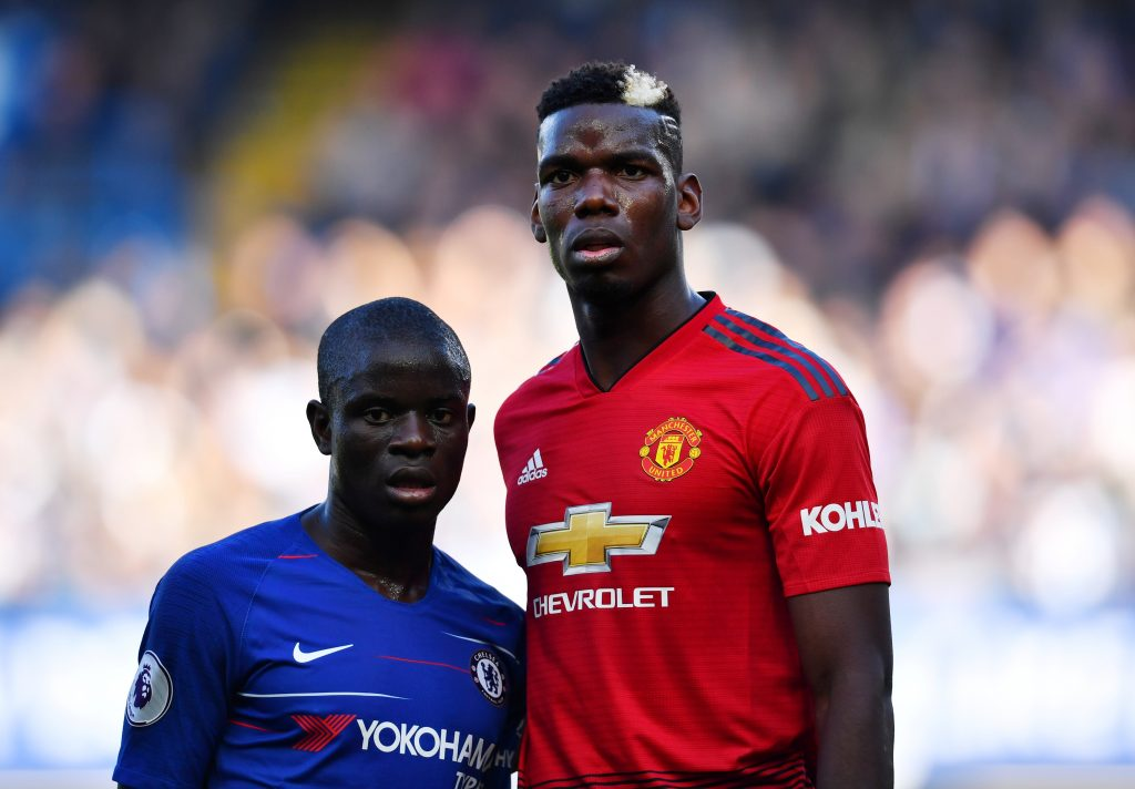 Chelsea's N'Golo Kante and Manchester United's Paul Pogba during the match.