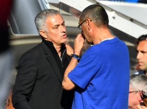 Jose Mourinho and Chelsea manager Maurizio Sarri after the match.