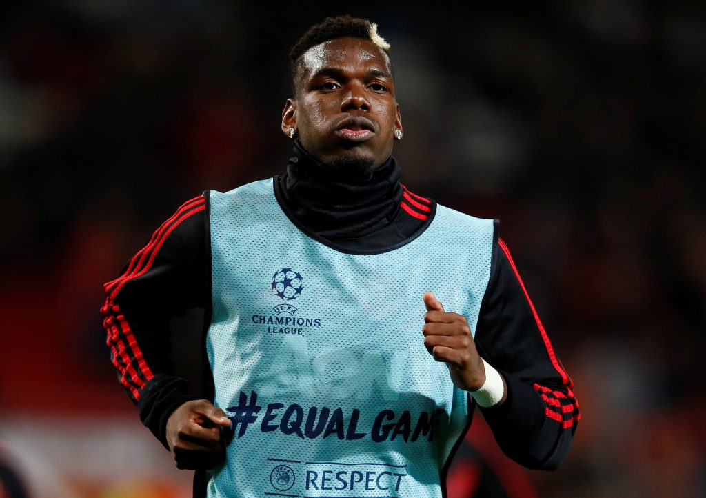 Manchester United's Paul Pogba during the warm up before the match.