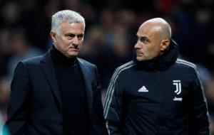 Man Utd manager Jose Mourinho at half time.