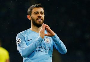 Man City's Bernardo Silva celebrates scoring their third goal.