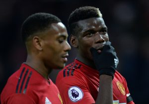 Manchester United's Anthony Martial and Paul Pogba.