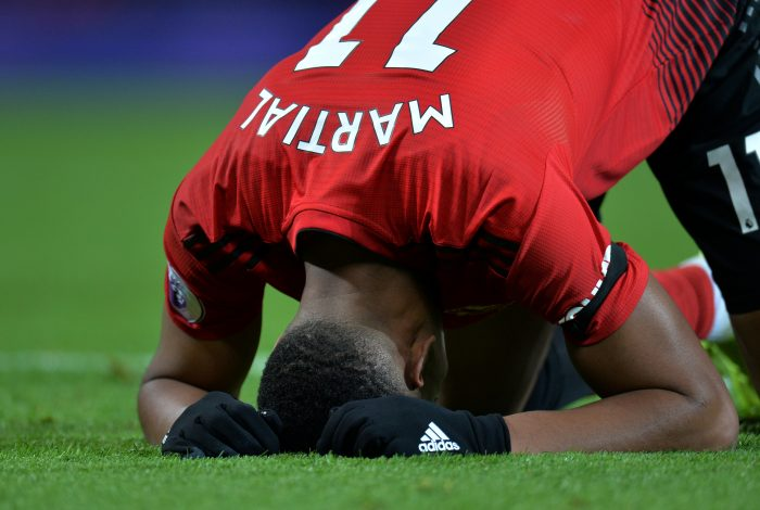 Manchester United's Anthony Martial reacts after a missed chance.